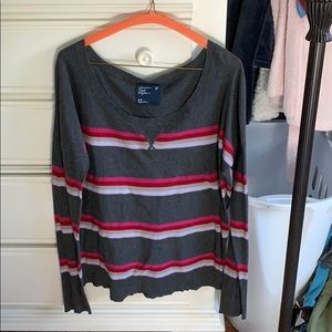AEO Medium Charcoal and Multicolor Striped Sweater
